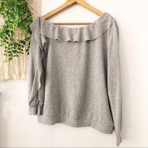 1. STATE G Ruffle Neckline Asymmetrical Sweater